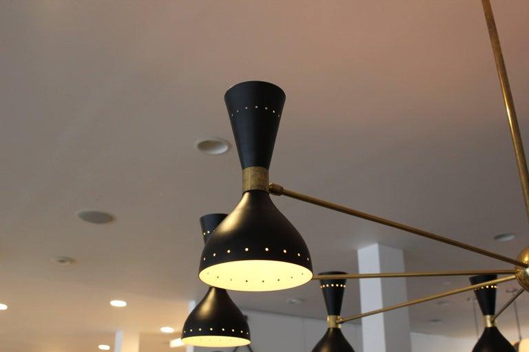 Italian Gigantic Stilnovo Style Chandelier For Sale