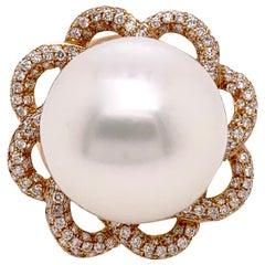 Gigantic White South Sea Pearl Ring with Diamonds in 18 Karat Rose Gold