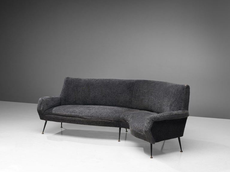 Gigi Radice for Minotti, curved sofa, upholstery and lacquered metal, Italy, 1960s. 