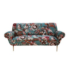 Gigi Radice Curved Sofa Upholstered in Pattern Fabric, Italy, 1950s