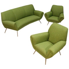 Gigi Radice for Minotti 20th Century Green Fabric Italian Armchairs and Sofa