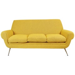 Gigi Radice for Minotti 3-Seat Sofa, 1950s, Curry Color New Upholstery