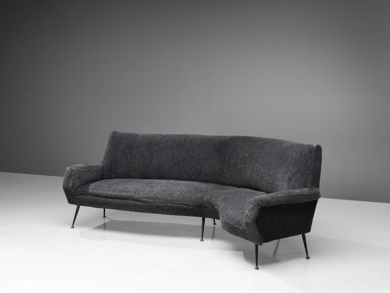 Mid-Century Modern Gigi Radice for Minotti Curved Sofa in Grey Upholstery For Sale