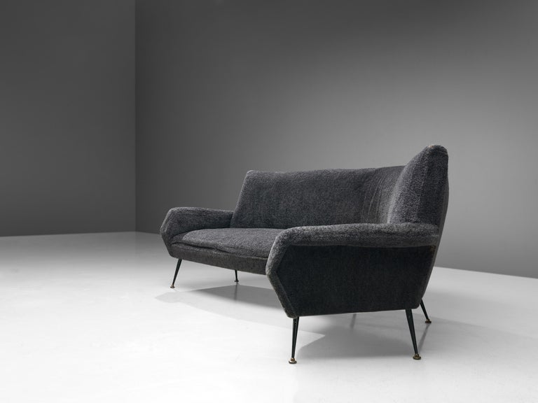 Gigi Radice for Minotti Curved Sofa in Grey Upholstery For Sale 1