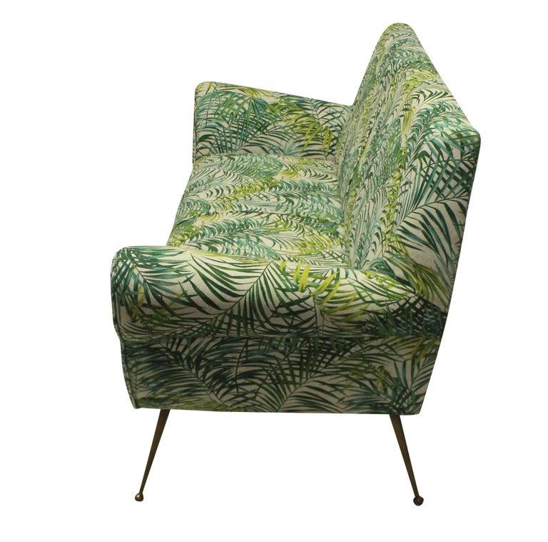 Mid-Century Modern Gigi Radice for Minotti Sofa in Palm Print Linen
