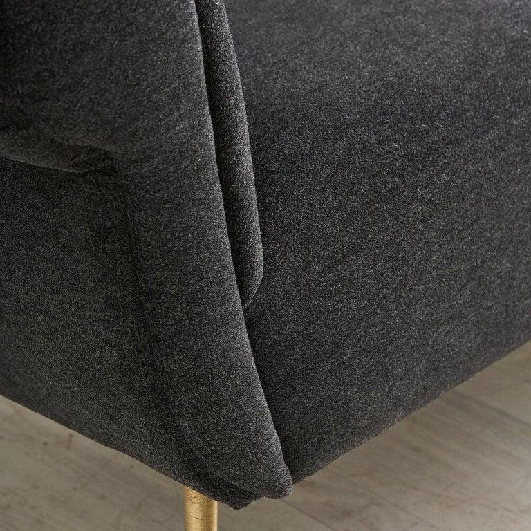 Mid-20th Century Gigi Radice Italian Settee Loveseat in Charcoal Gray Mohair For Sale