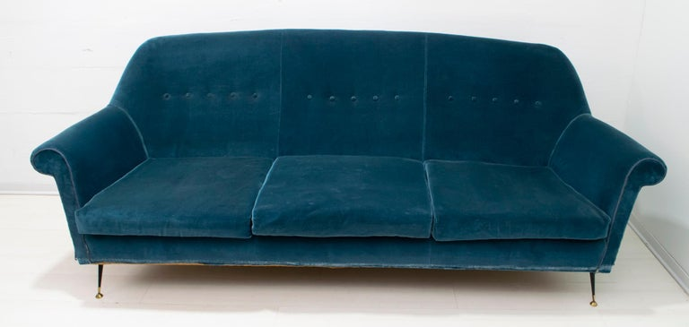 Gigi Radice Mid-Century Modern Italian Sofa and Two Armchairs for Minotti, 1950s For Sale 9