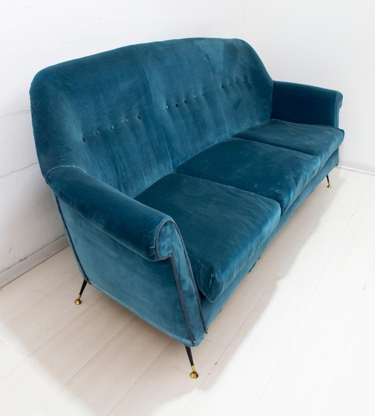 Gigi Radice Mid-Century Modern Italian Sofa and Two Armchairs for Minotti, 1950s For Sale 10