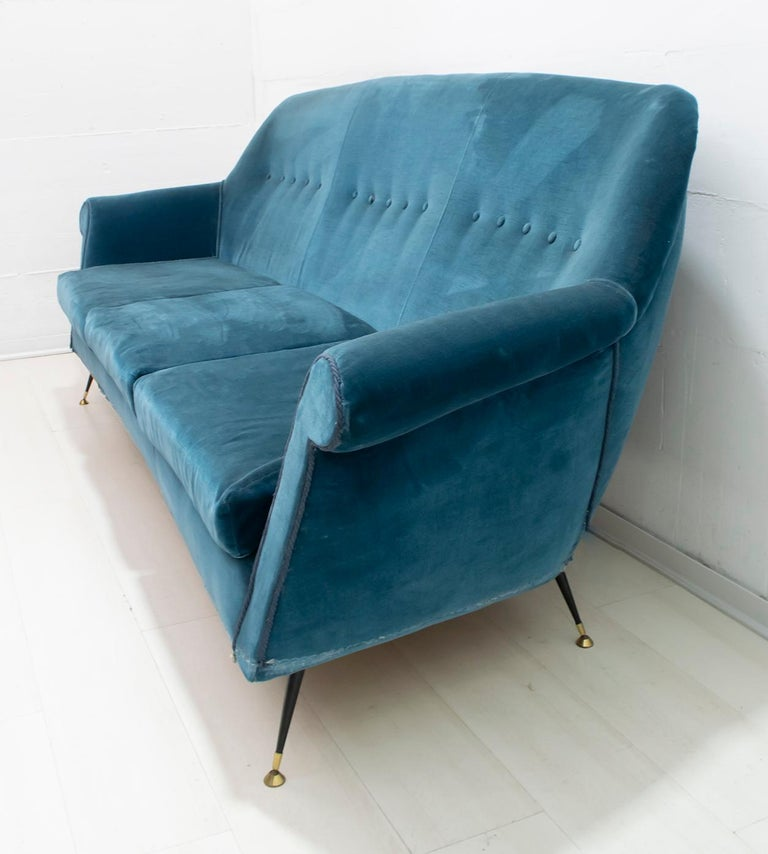 Gigi Radice Mid-Century Modern Italian Sofa and Two Armchairs for Minotti, 1950s For Sale 12