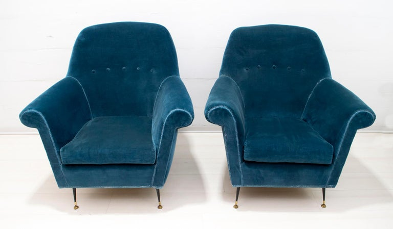 Mid-20th Century Gigi Radice Mid-Century Modern Italian Sofa and Two Armchairs for Minotti, 1950s For Sale
