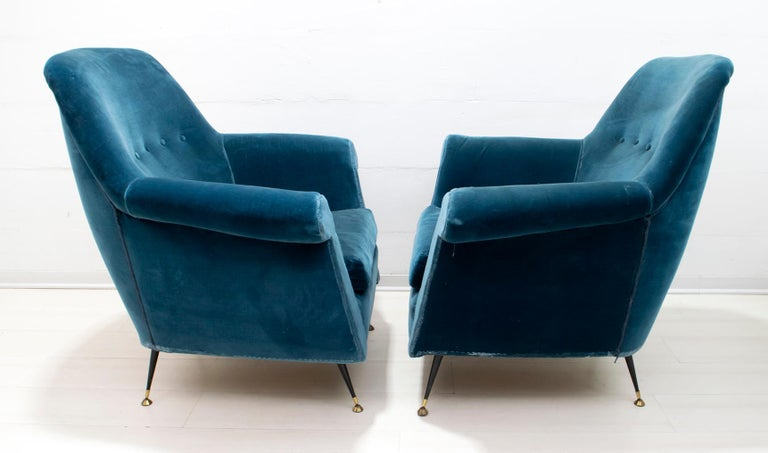 Brass Gigi Radice Mid-Century Modern Italian Sofa and Two Armchairs for Minotti, 1950s For Sale