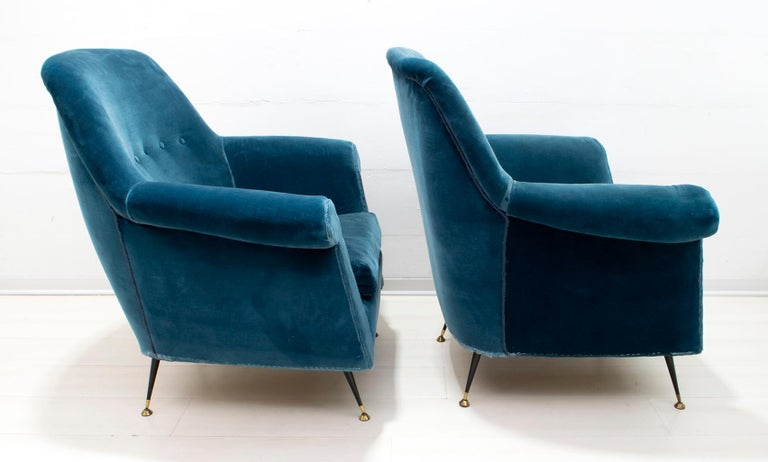 Gigi Radice Mid-Century Modern Italian Sofa and Two Armchairs for Minotti, 1950s For Sale 1