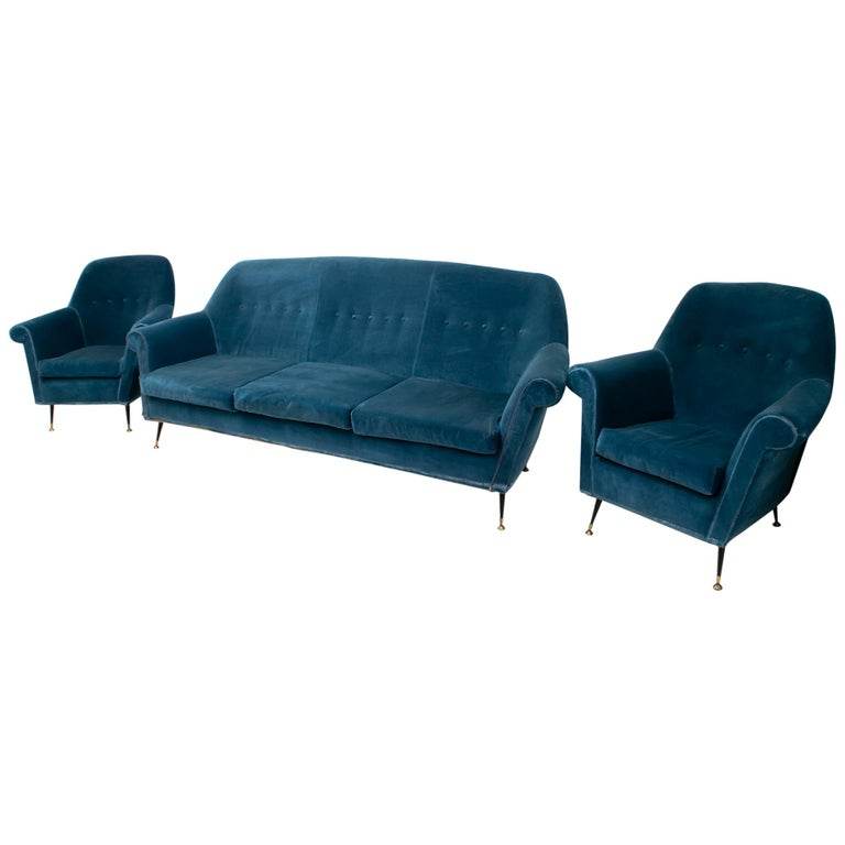 Gigi Radice Mid-Century Modern Italian Sofa and Two Armchairs for Minotti, 1950s For Sale