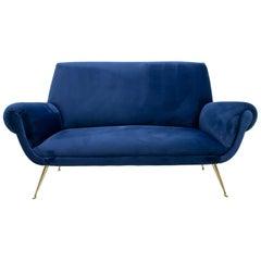 Gigi Radice Mid-Century Modern Italian Velvet Sofa for Minotti, 1950s