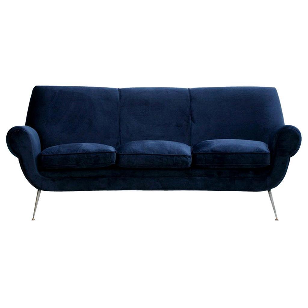 Gigi Radice Mid-Century Modern Midnight Blue Cotton Velvet Curved Italian Sofa