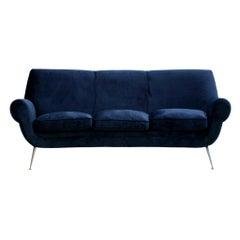 Gigi Radice Mid-Century Modern Navy Blue Cotton Velvet Curved Italian Sofa