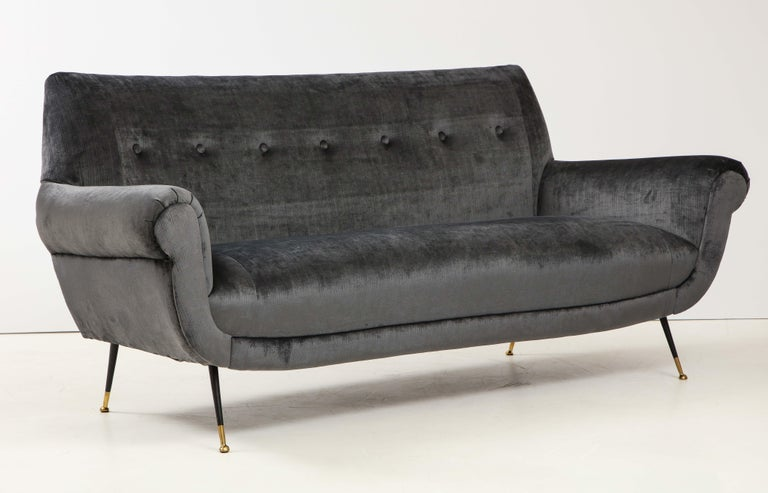 Stunning 1950s Mid-Century Modern Italian sofa designed by Gigi Radice. Fully restored and reupholstered in gray velvet.