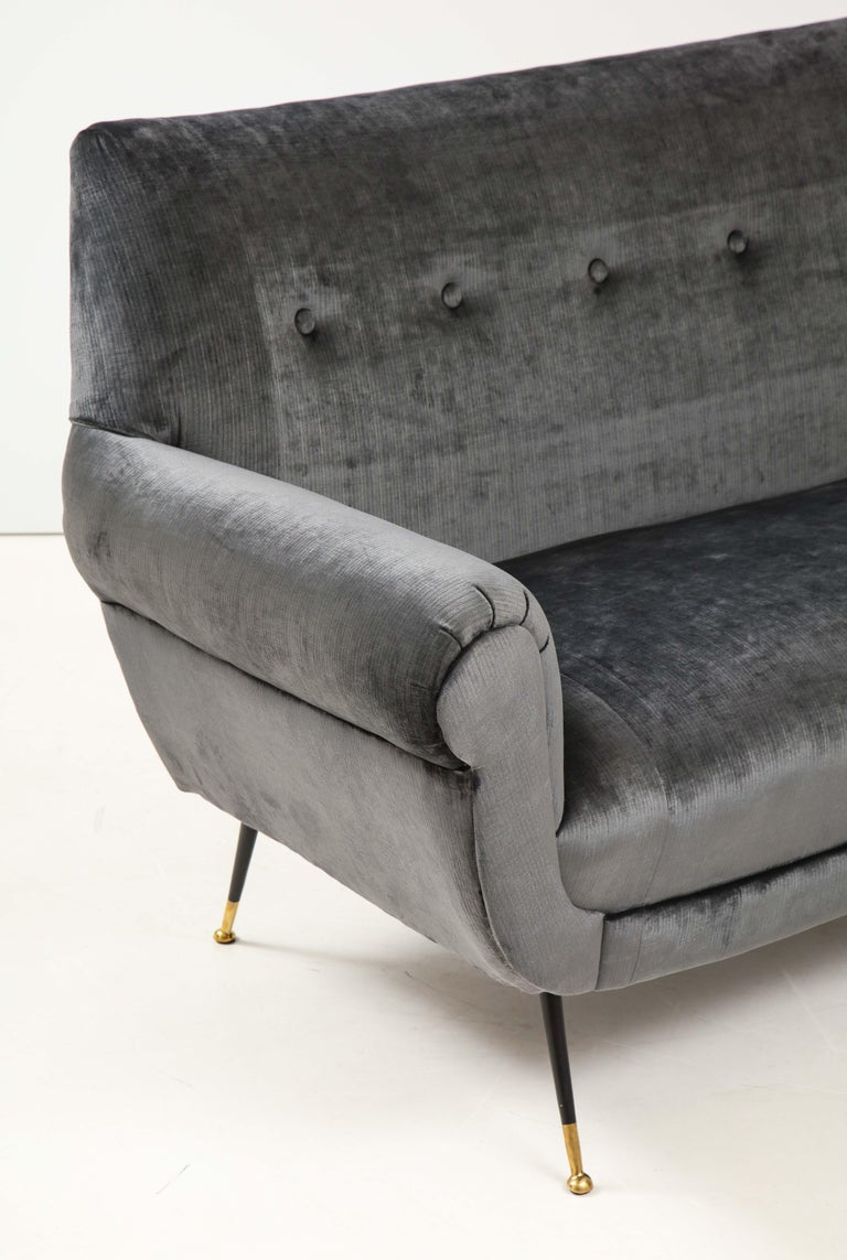 Italian Gigi Radice Mid-Century Modern Velvet Sofa