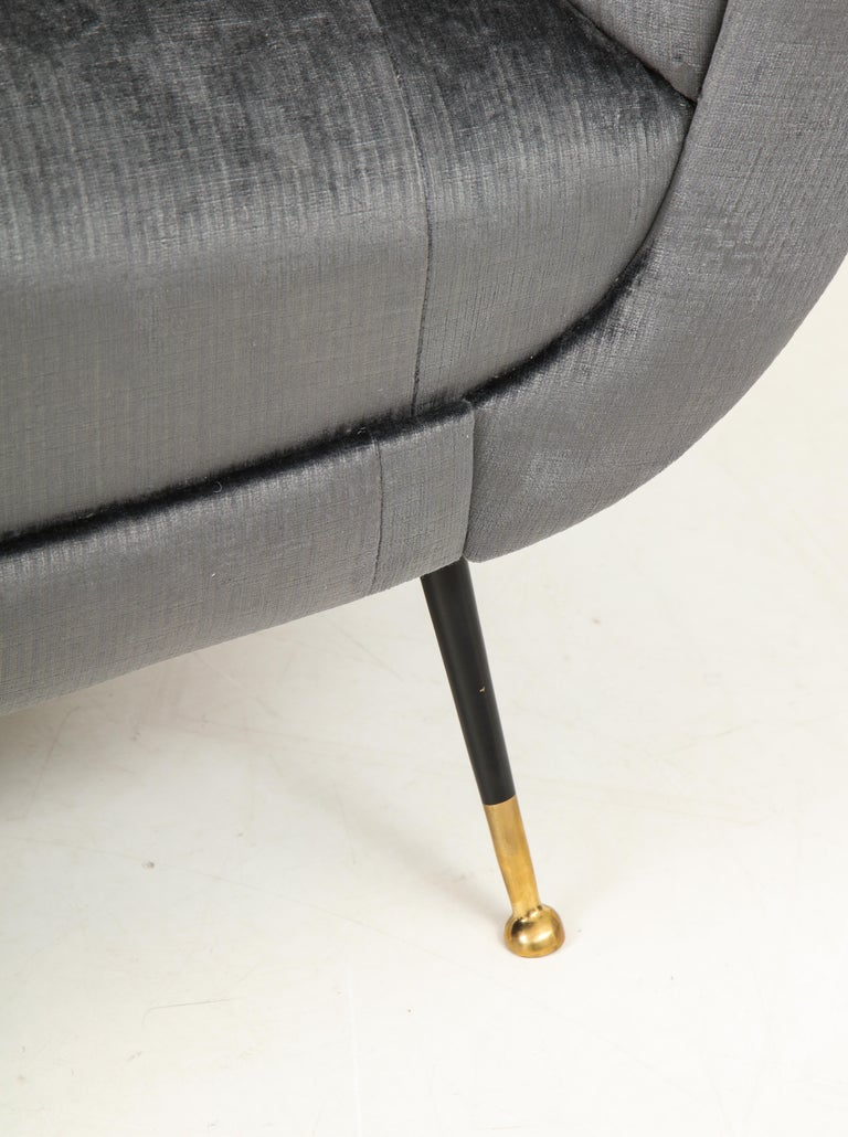 Brass Gigi Radice Mid-Century Modern Velvet Sofa