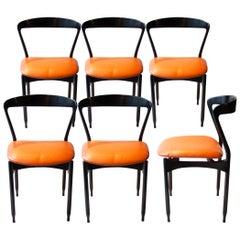 Gigi Radice Midcentury Modern Black Orange Chairs, Italy, 1950