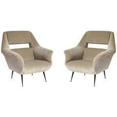 Gigi Radice, Minotti Grey Velvet Lounge Chairs, Italy, 1960