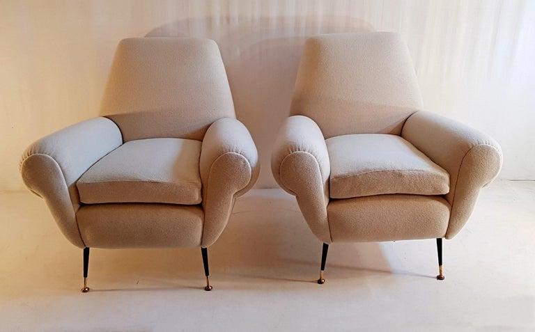 Mid-Century Modern Gigi Radice Pair of Armchairs for Minotti For Sale