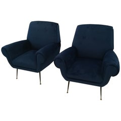 Gigi Radice Pair of Blue Velvet Armchairs, circa 1960