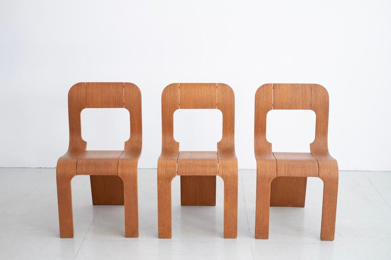 Italian chairs, circa 1970s designed by Gigi Sabadin  For Stilwood. Curved bent plywood with in ashwood Fantastic design! Priced individually.