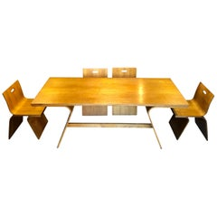 Gigi Sabadin Dining Plywood Set for Stilwood, 4 Chairs and Table, 1972