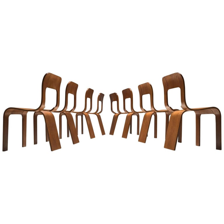 Gigi Sabadin Set of Eight Stackable Chairs For Sale