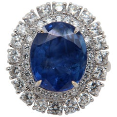 GII Certified 9.66 Carat Burma Blue Sapphire Diamond Ring