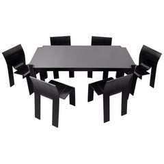 Gijs Bakker 6 Strip Chairs and Dining Table Dining Set, 1970s