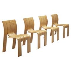 Gijs Bakker for Castelijn Set of Four 'Strip' Dining Chairs in Oak