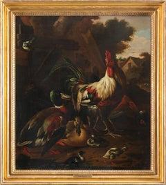 Dutch 17th century, cockerel, hen, mallard drake and duck with their ducklings
