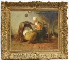 Mother with child in crib - Gijsbertus Jan Sijthoff