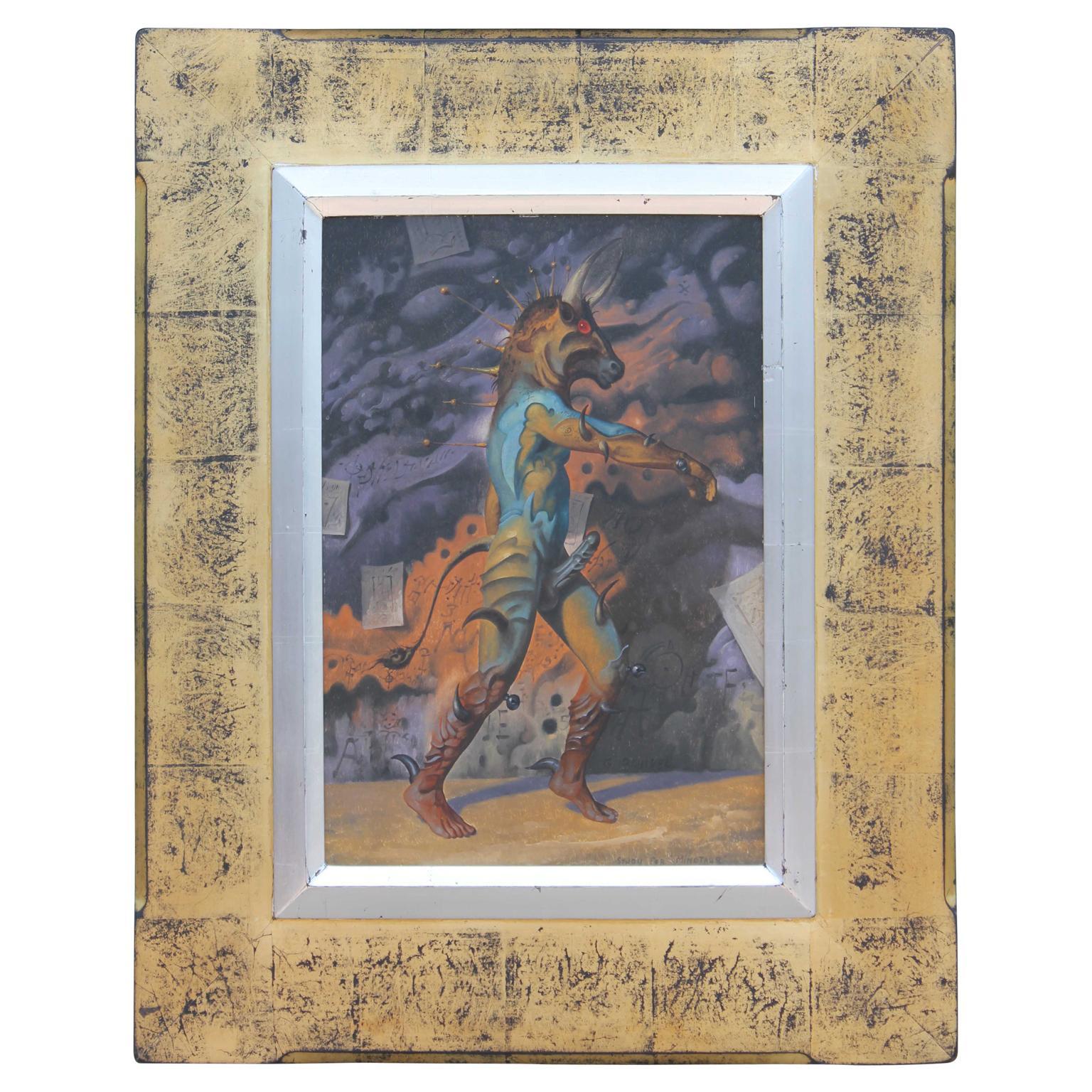 """The Minotaur"" Surrealist Figurative Abstract Painting"