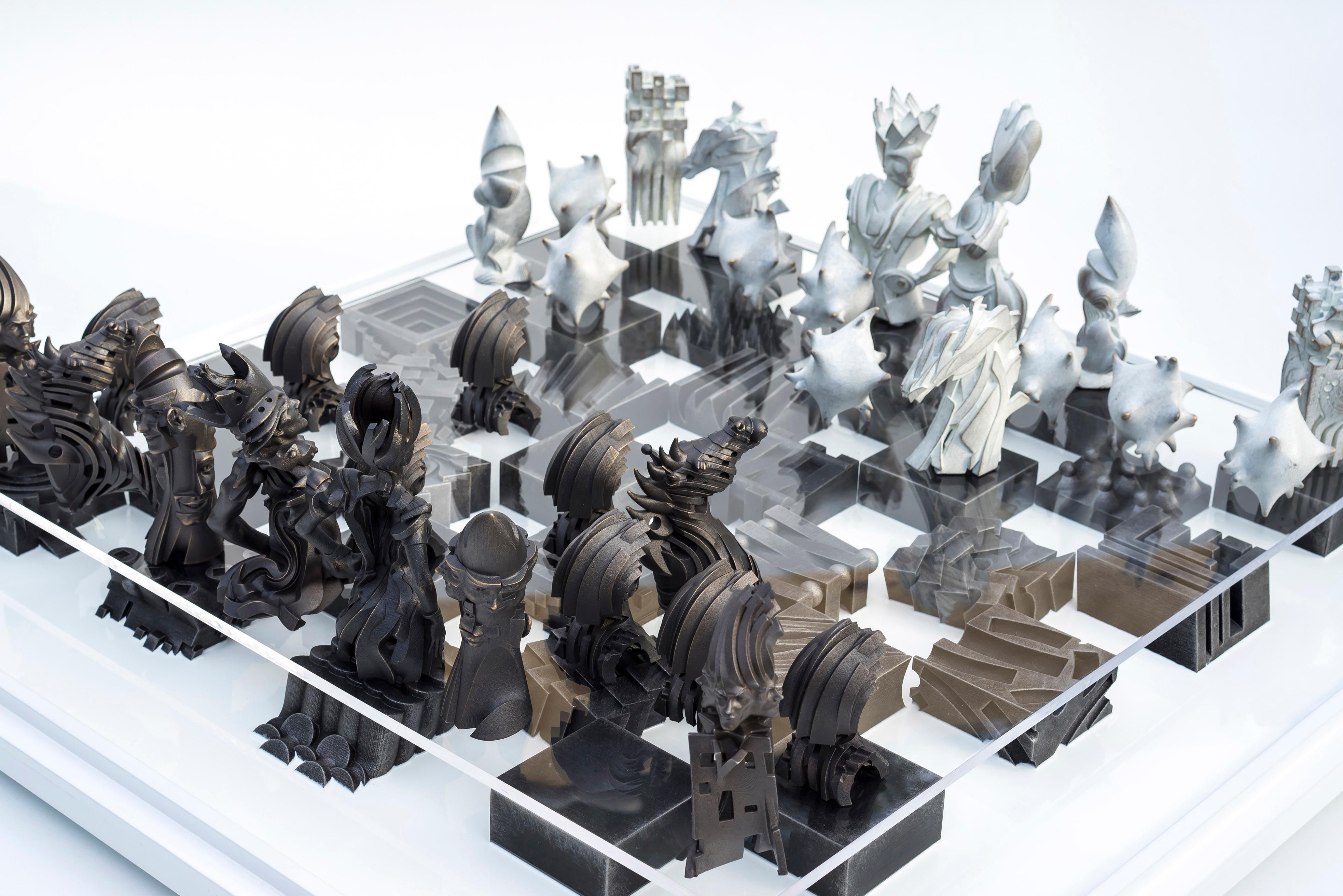 Checkmate - 21st Cent, Contemporary, Sculpture, Stainless Steel, Bronze, Wood