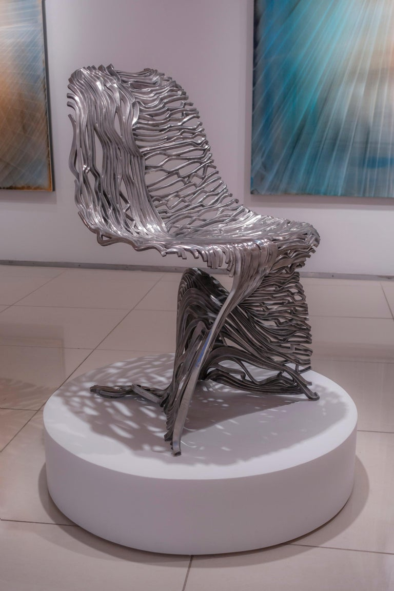 Dichotomy Chair - 21st Century, Contemporary, Sculpture, Stainless Steel For Sale 6