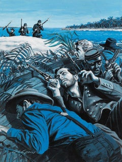 Soldiers on the Shore. Story Illustration for Male Magazine