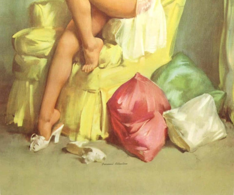 Nude Pin Up Girls Vintage Calendar Posters - Realist Print by Gil Elvgren