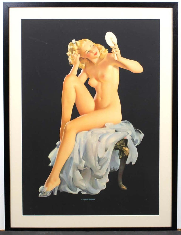 Nude Pin Up Girls Vintage Calendar Posters - Black Nude Print by Gil Elvgren