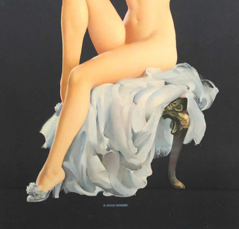 American 1940s set of four framed original vintage pin-up calendar girl prints. One is signed Gil Elvgren, one is signed Sundblom (Haddon (Sunny) Hubbard Sundblom) and two are unsigned. Titles are 'Best Yet', 'A Good Number', 'Perfection' and