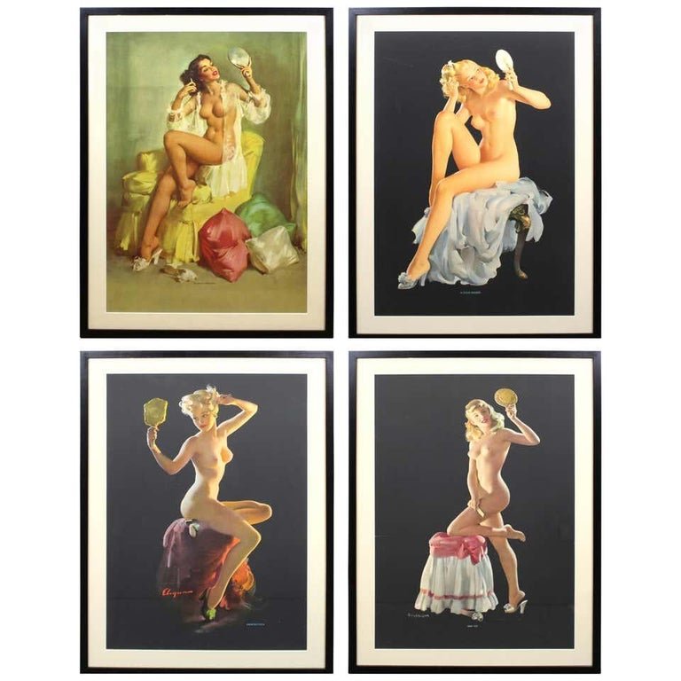 Gil Elvgren Nude Print - Nude Pin Up Girls Vintage Calendar Posters