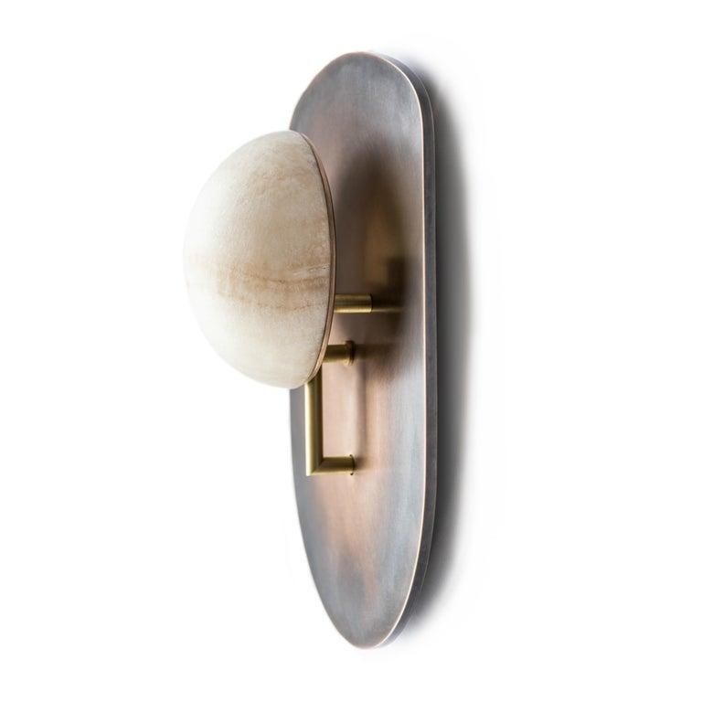 Modern Gil Melott Bespoke Luz SC Form 19 Bronze and Alabaster Sconce For Sale