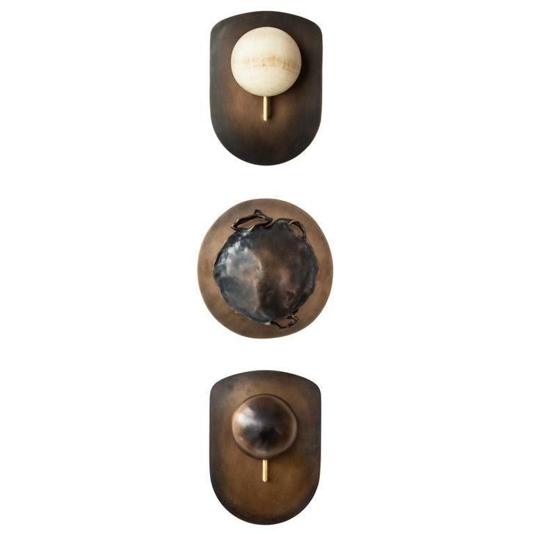 Hand-Carved Gil Melott Bespoke Luz SC Form 19 Bronze and Alabaster Sconce For Sale