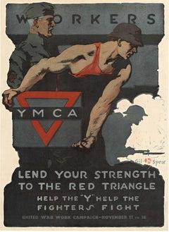 YMCA Workers Lend Your Strength original World War 1 vintage poster