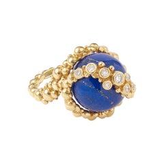Gilbert Albert 5 Interchangeable Balls Diamonds 18 Carats Yellow Gold Ring