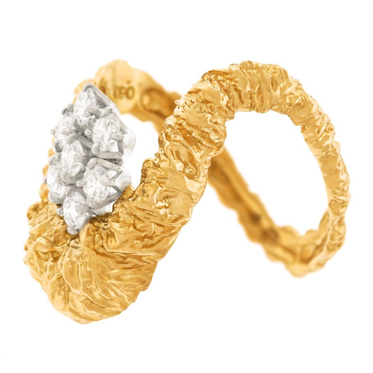 Gilbert Albert Abstract Diamond Set Ring In Excellent Condition For Sale In Litchfield, CT