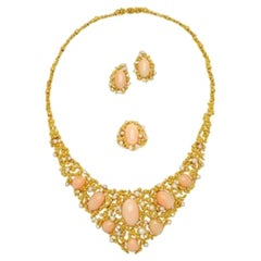 Gilbert Albert Coral, Pearl and Diamond Suite, Necklace, Ring, Earclips, 1970s