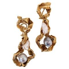 Gilbert Albert Gold and Pearl Long Earrings
